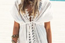 02 a sexy white beach tunic with a lace trim and a V-neckline plus short sleeves