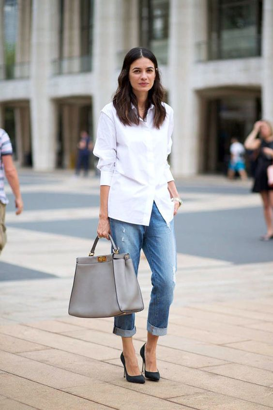 ef3db180ca a white shirt, blue boyfriends, black heels and a grey bag for casual  classic