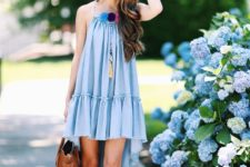 03 a blue mini dress with a high low skirt, pompoms is a comfy piece to wear