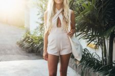 03 a blush beach romper with a criss cross front is a wow idea