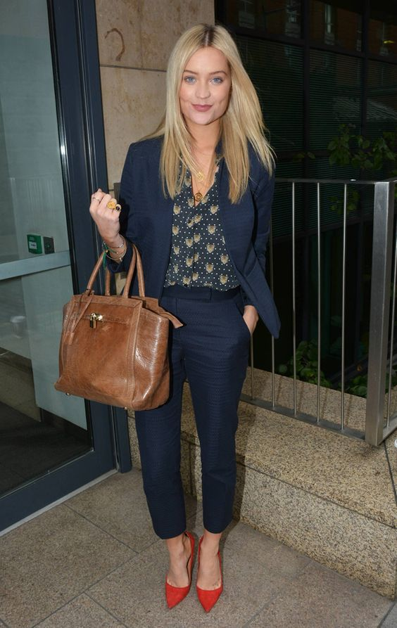 a navy suit with cropped pants, a print shirt, red heels for a business meeting