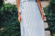 03 a striped spaghetti strap wrap midi dress and nude sandals are all you need for comfort