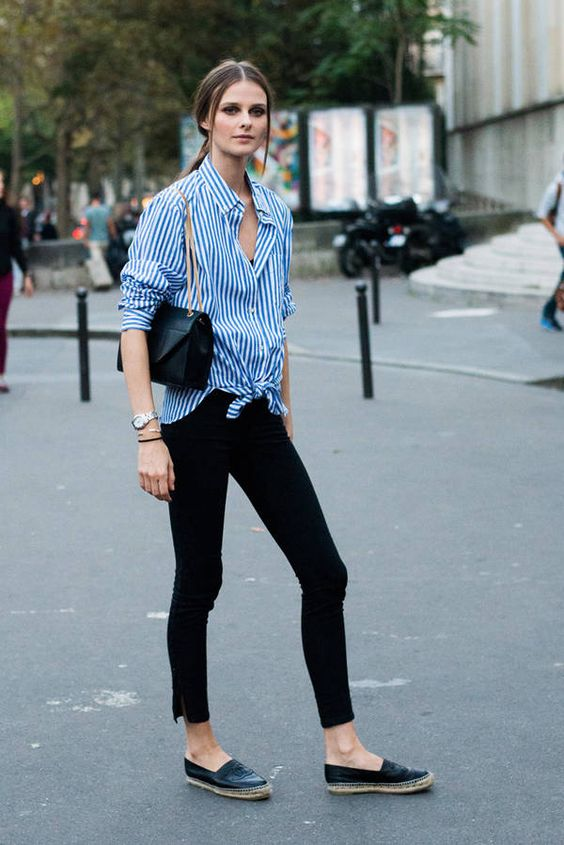 c11b094d4faf black skinnies, a blue striped shirt, black espadrilles for a relaxed feel