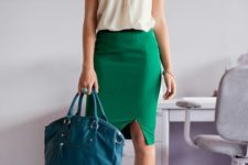 04 a bold green pencil skirt, a neutral blouse, nude shoes and a teal bag for a colorful statement