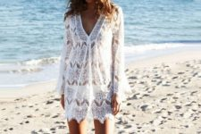 04 a white lace beach tunic with bell sleeves and a V-neckline is comfy and ideal for a boho girl