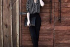 04 black cropped pants, a striped shirt, metallic platform shoes and a clutch