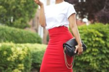 05 a red pencil skirt, a white tee, black ankle strap shoes and a clutch