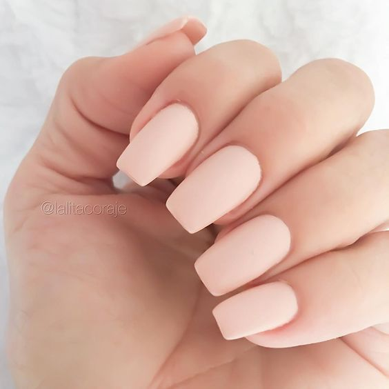 light pink matte manicure cna be worn to work or on usual days