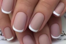 06 nude matte French nails are a chic idea for summer or for an office