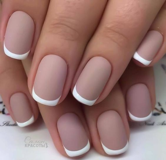 nude matte French nails are a chic idea for summer or for an office