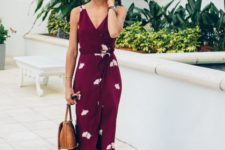 07 a burgundy midi wrap dress with a V-neckline, tan shoes and a tan bag