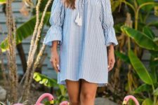 08 a striped blue off the shoulder mini dress with long sleeves and tassels is classics