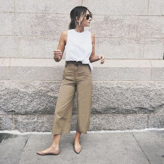 nude flats, tan wide leg pants, a white sleeveless top