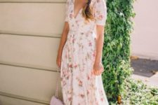 09 an ivory floral midi dress with short sleeves, a V-neckline and a blush bag and nude shoes