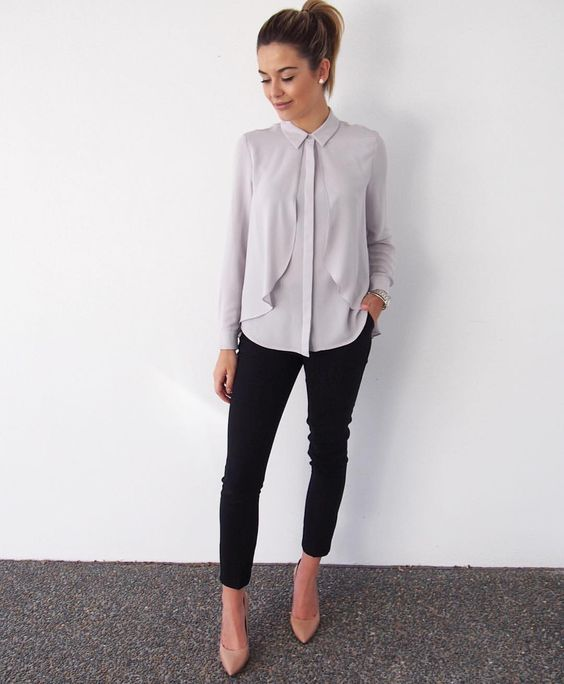 a grey blouse with catchy detailing, black cropped pants and nude shoes for a career girl look