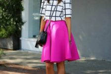 10 a hot pink A-line skirt, a windowpane top and blakc strappy shoes