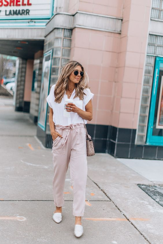blush pants with a bow sash and a white tee, white flats and a pink bag