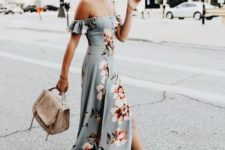 11 a light grey off the shoulder dress with a large floral print and a side slit