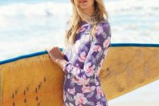 11 a purple long sleeve swimsuit with tropical leaves and flowers prints for active surfing
