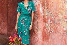 12 a teal midi shirtdress with short sleeves and a pink floral print and red bow flats