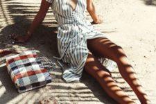 13 a striped midi beach dress with short sleeves and a V-neckline