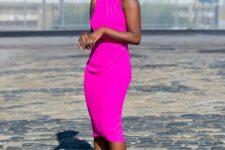 14 a hot pink fitting sleeveless midi dress, striped shoes for a chic lok