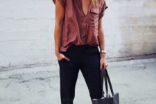 14 black pants, a mauve shirt, nude studded flats and a black bag