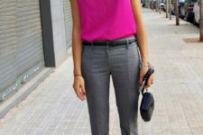 14 grey cropped pants, a pink top, black strappy heels for a bold work look