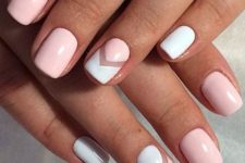 14 light pink and white manicure with negative space chevrons for a laconic look