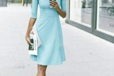 15 a stylish light aqua knee dress with long sleeves and teal shoes for a chic look