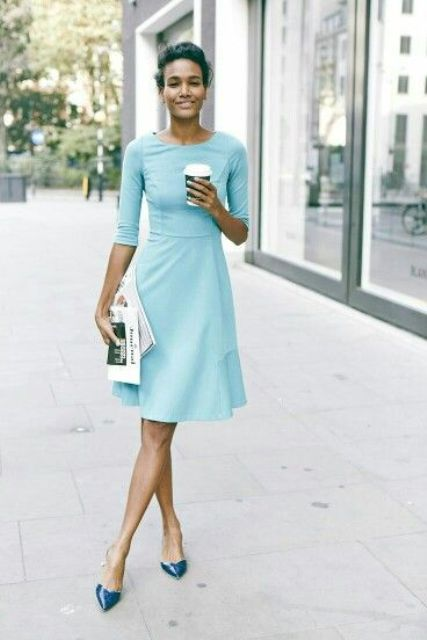 a stylish light aqua knee dress with long sleeves and teal shoes for a chic look