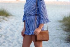 15 an off the shoulder blue striped romper with ruffles is a cute and girlish idea