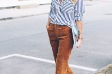 15 mustard-colored cropped pants, a striped shirt, mustard heels for a catchy work look