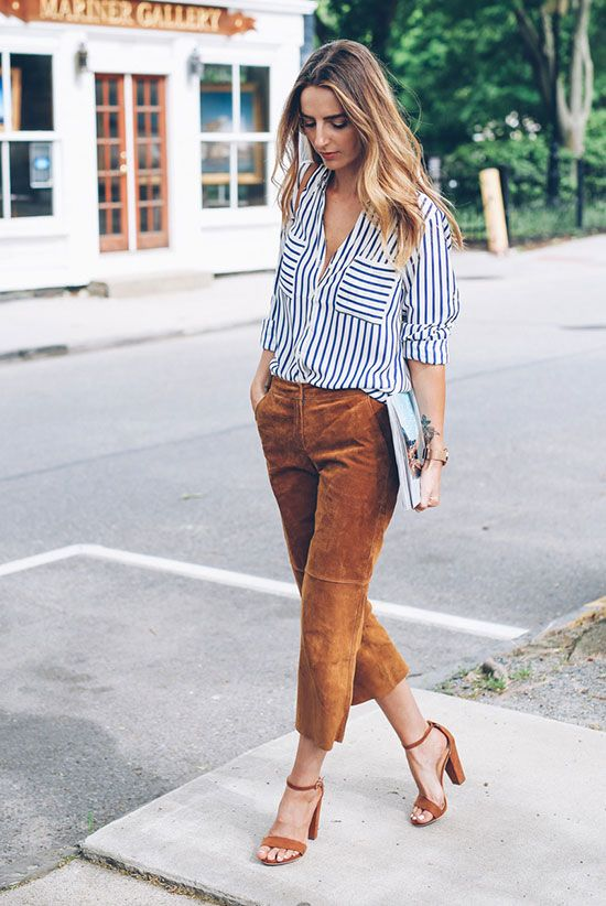 mustard colored cropped pants, a striped shirt, mustard heels for a catchy work look