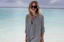 16 a striped grey shirtdress tunic with lacing is very comfy to wear on the beach
