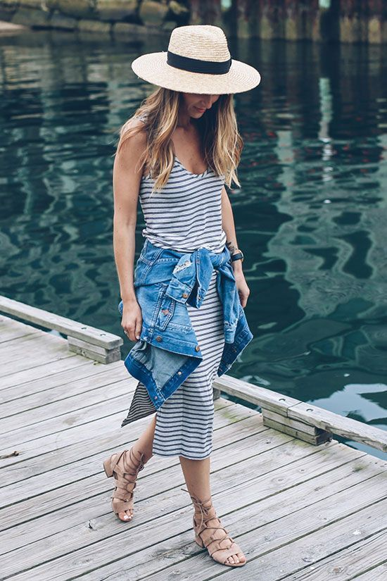 a striped spaghetti strap midi dress, a denim jacket, nude strappy sandals and a hat