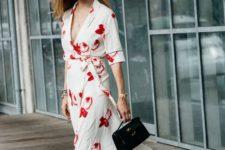 16 a white kimono midi dress with a red floral print, a V-neckline plus sneakers