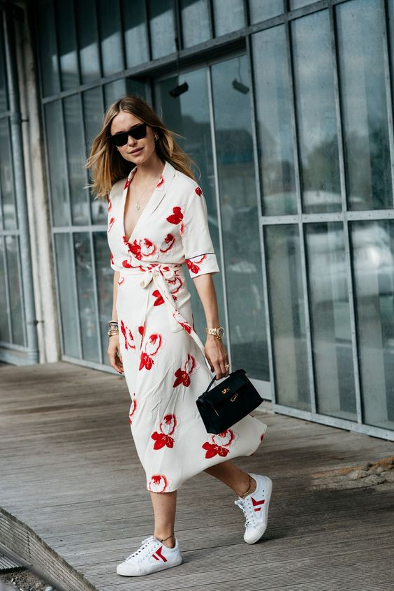 a white kimono midi dress with a red floral print, a V neckline plus sneakers