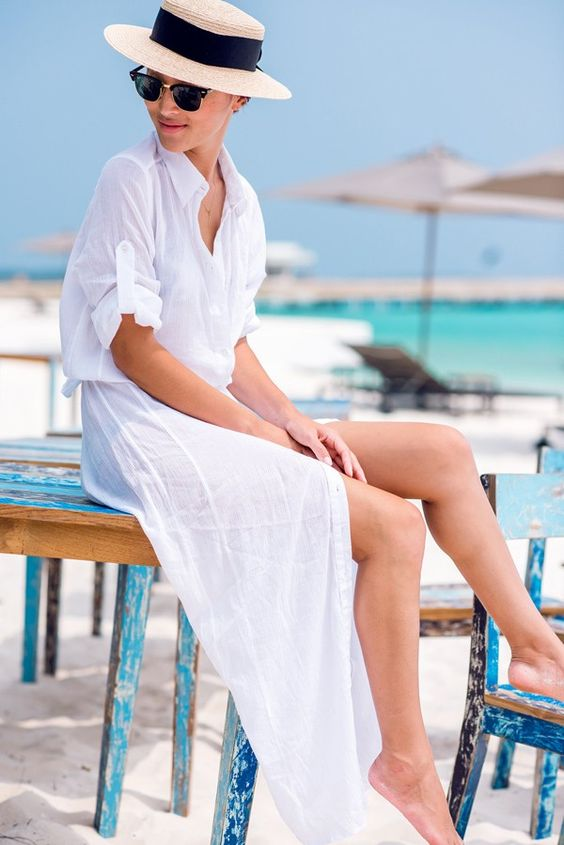an airy white maxu shirtdress with short sleeves is a gorgeous idea to rock on the beach