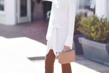 16 rust-colored pants, nude heels and a long white shirt with draping for a summer work look