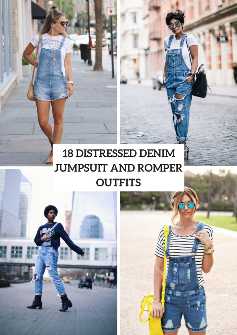 18 Distressed Denim Jumpsuit And Romper Outfit Ideas
