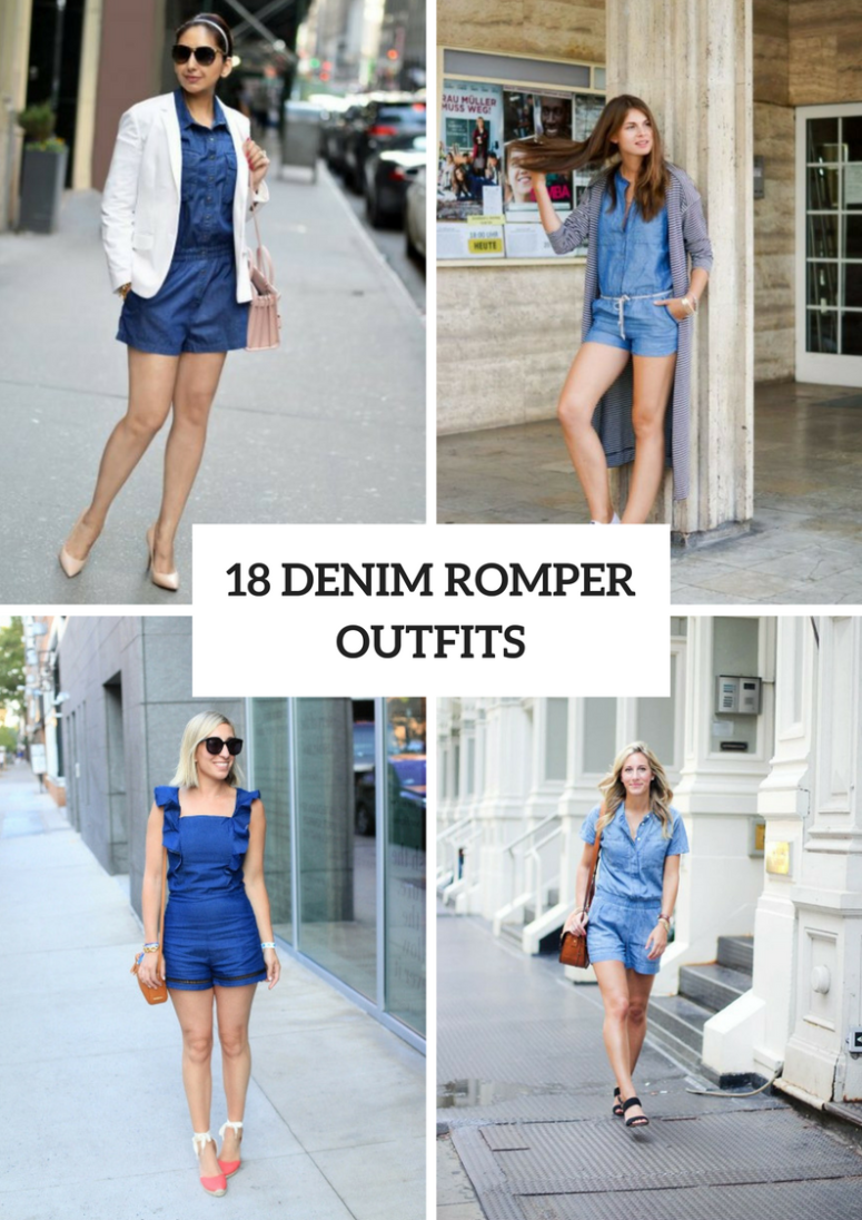 18 Summer Outfits With Denim Rompers