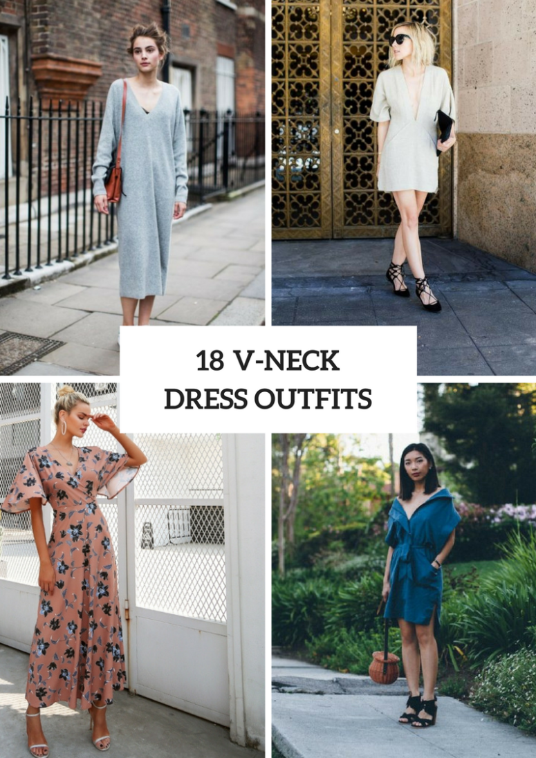 18 Wonderful Outfits With V-Neck Dresses