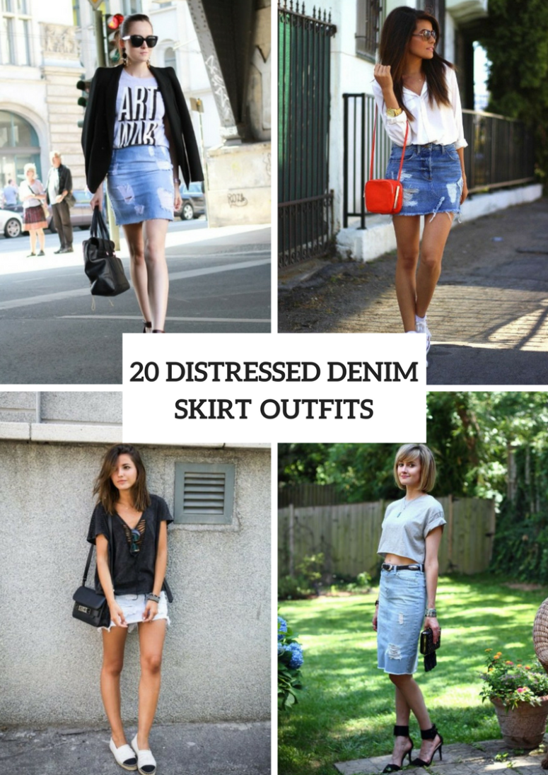 20 Cool Looks With Distressed Denim Skirts
