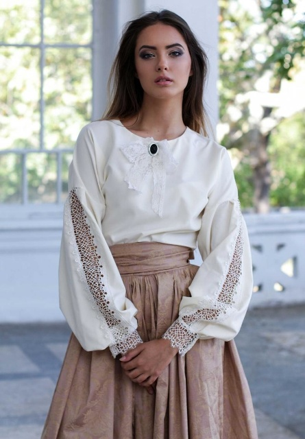 With beige A line skirt