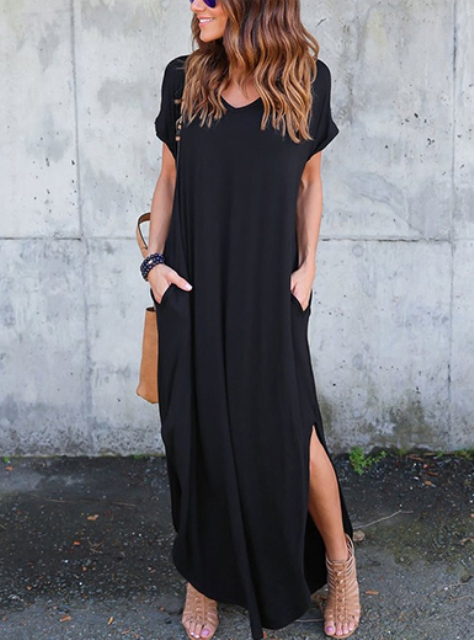 With beige lace up sandals and brown tote