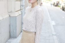 beige skirt spring look