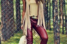 marsala plus beige spring look