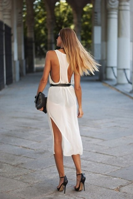 With black belt, clutch and ankle strap shoes