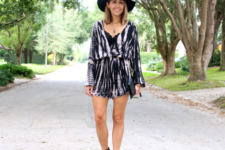 With black cutout boots and hat
